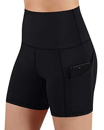 Voqeen Pantalones Cortos de Yoga con Bolsillos de Cintura Alta, para Mujer, Bolsillos para Control de Barriga, Pantalones de Entrenamiento, Pantalones Casuales (Negro, L)