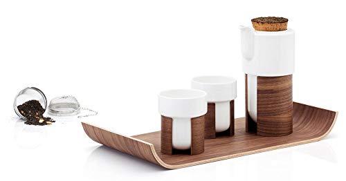 Tonfisk TNW007K - Juego de té caliente con 2 tazas, tetera con colador de acero inoxidable y bandeja de nogal (color blanco)