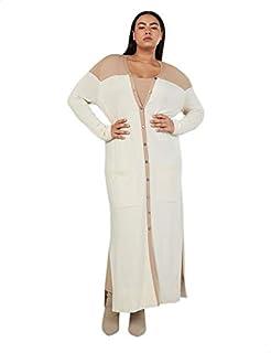 Splash Button-Down Long Sleeves Two-Tone Dress for Women 18