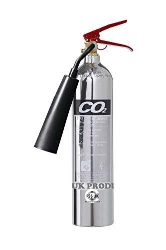 RH Premium FSS UK - Estintori a CO2, 2 kg Cromato lucido. Marchio CE. Ideale per case, cucina, ufficio, officine, magazzini, garage, hotel, ristoranti.