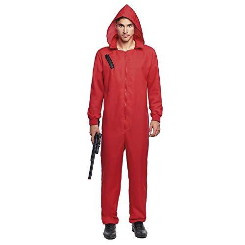Mono Rojo Trabajo de Disfraz con Cremallera y Capucha Adulto (XL) (+Tallas) Halloween y Carnaval