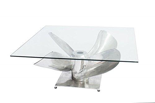DuNord Design Couchtisch Schiffschraube Schiff Glastisch Nautilus 85cm Wohnzimmertisch Beistelltisch