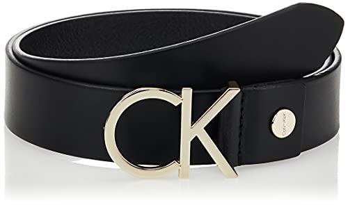 Calvin Klein Ck Adj.logo Belt 3.5cm Cintura, Nero (Black Leather & Light Gold Buckle 910), 5 (Taglia Produttore: 85) Donna