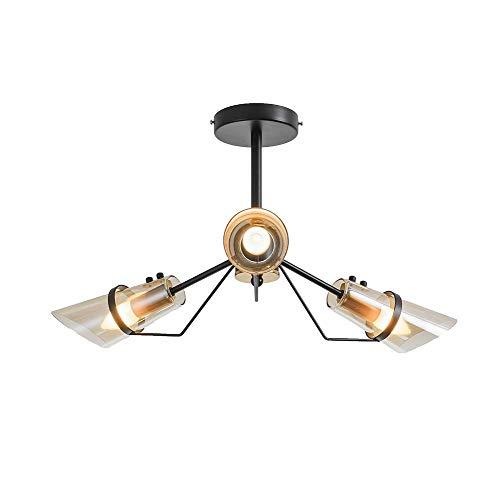 GLXLSBZ Lámpara de techo con 8 luces nórdicas rústicas para colgar en el techo con pantalla de cristal de corte redondo moderna industrial para Ki (iluminación del hogar)