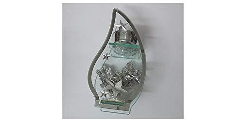 bb-10 Shop Weihnachtliches Windlicht Deko-Windlicht Teelichthalter Flamme aus Glas mit 3D-Effekt und verziert mit Silberne Weihnachsdeko Das Windlicht ist eine schöne Deko für Weihnachten