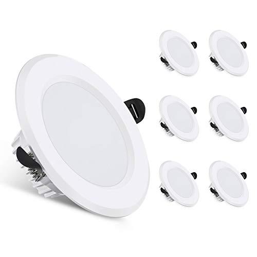 AMBOTHER LED Einbaustrahler Flach, 6W 600LM LED Spot Warmweiß 3000K Deckenspot LED Einbauleuchten IP44 Einbauspots 40mm Einbautiefe Deckeneinbauleuchte für Badezimmer AC85-265V 6er Set