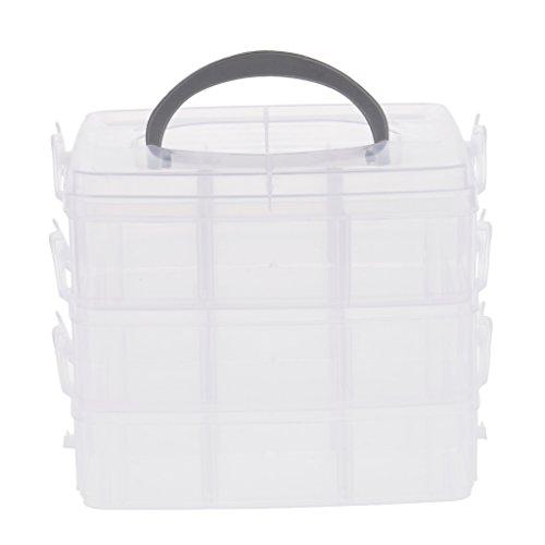 Sortierbox mit Tragegriff, Aufbewahrungsbox für Bügelperlen, Perlen, Schmuck, Medikamente, Schrauben, Muttern und Kleinteile Aller Art - Klar