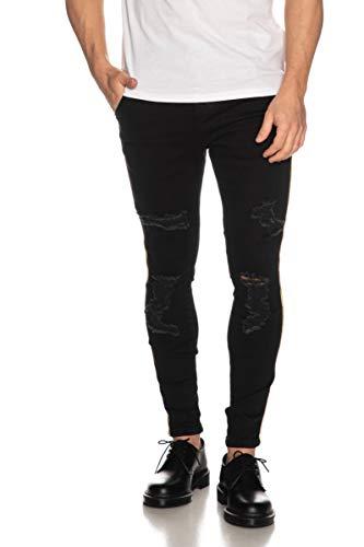 Siksilk Seven Pontevedra Jeans zwart gestreept goud Distressed Skinny