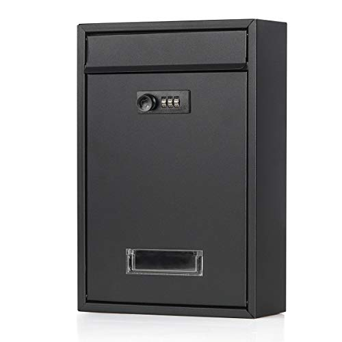 Jssmst(ジェスマット) メールボックス ポスト 郵便受け 壁掛け ダイヤル式 暗証番号 金属製 マットブラック Mail-06 (06-ダイヤル)