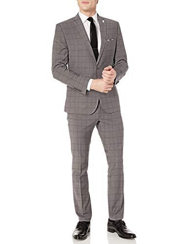 Nick Graham Men's Slim fit Stretch Finished Bottom Suit, Gray Windowpane, 42 Regular