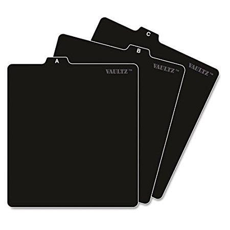 Vaultz A to Z CD and DVD Storage File Guides, 26 Guides per Box, Black (VZ01176) 2-Pack