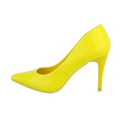 Ital-Design Damenschuhe Pumps High Heel Pumps, Q755-, Kunstleder, Gelb, Gr. 38