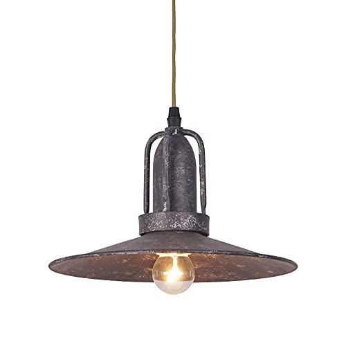NAMFHZW Lámpara colgante de techo industrial vintage con acabado en metal gris envejecido, lámpara colgante con pantalla E27, 1 luz, lámpara colgante semiempotrada, luminaria ajustable en altura, cafe