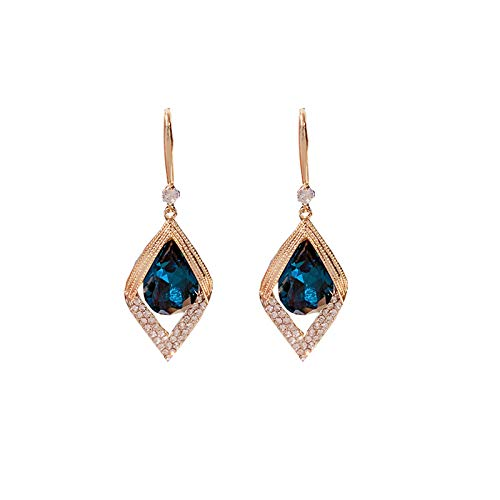 GRFD Female drop gold-plated earrings, exquisite drop earrings with blue diamonds, high-end silver needle earrings