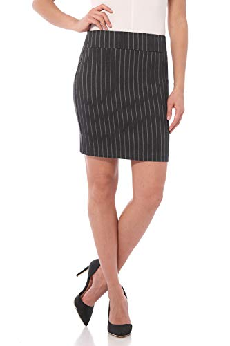 Rekucci Women's Ease Into Comfort Above The Knee Stretch Pencil Skirt 19 inch (XX-Large,Dark Charcoal Pinstripe)