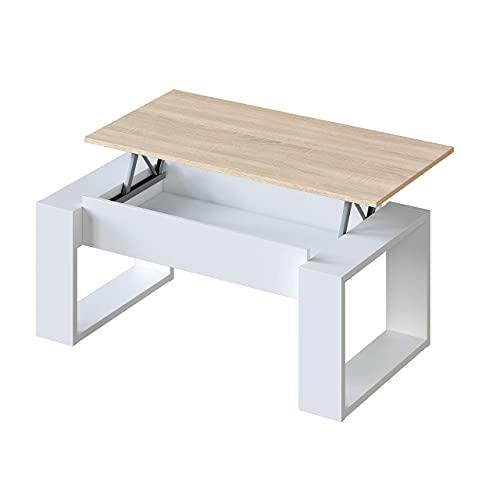Habitdesign Tavolino rialzato, Soggiorno, Tavolo da Pranzo, Modello Nova, Rifinito in Bianco Artik e Quercia Canadese, Misure: 105 cm (Lunghezza) x 55 cm (Larghezza) x 45-54 cm (Altezza)