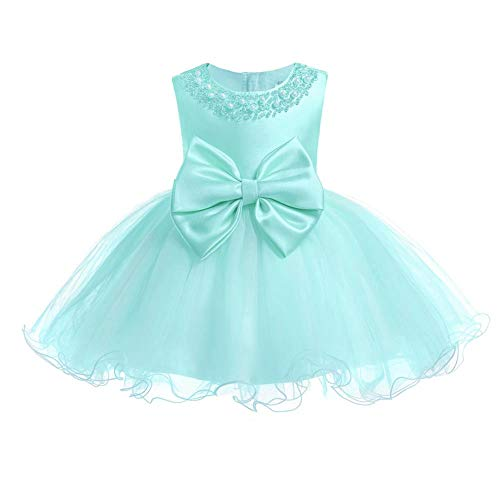 FYMNSI Vestido de niña para fiesta de cumpleaños o bautizo, con lazo, tutú de princesa, dama de honor, vestido de verano, 0 a 24 meses, verde, 18-24 Meses