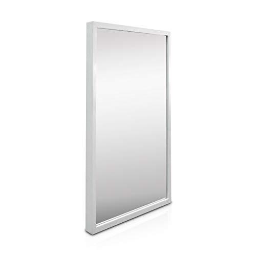 Classic by Casa Chic - Großer Wandspiegel - 90x60 cm - Echtholz - Handgefertigter Spiegel - Weiss