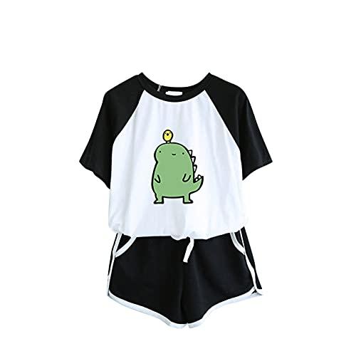 CHAOEN Damen Kurz Schlafanzug Pyjama Set Cartoon Motiv Tshirt + Shorts Sportanzug Zweiteilig Sommer Leicht Baumwolle Hausanzug Freizeitanzug