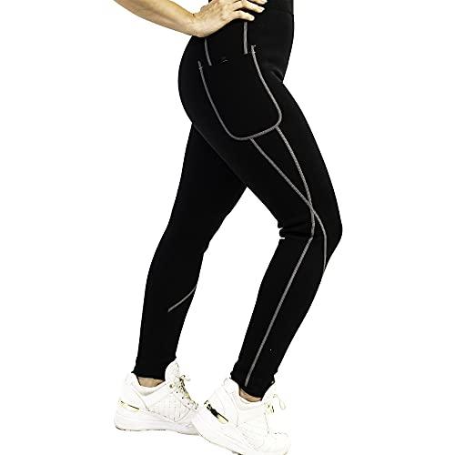 Pantalon Sauna 100% Neopreno, Leggins Reductores Adelgazantes, Leggins Anticeluliticos Cintura Alta, Mallas Fitness Push Up consigue una Sudoración efectiva en Deporte Fitness Negro (S)