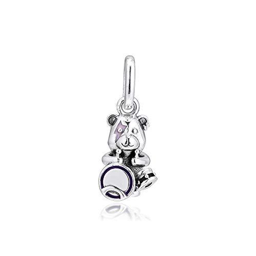 WUXEGHK Charms 925 Original Fit Pandora Pulseras Plata De Ley Theodore Bear Punk Band Charm Beads para La Fabricación De Joyas Mujeres Berloque