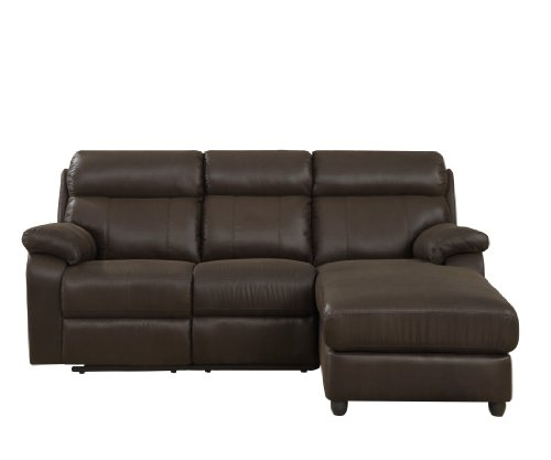 Hot Sale Homelegance Gaines 9609* 2-Piece Sectional Sofa with Reclining-Back Chaise, Chocolate Bomber-Jacket Microfiber