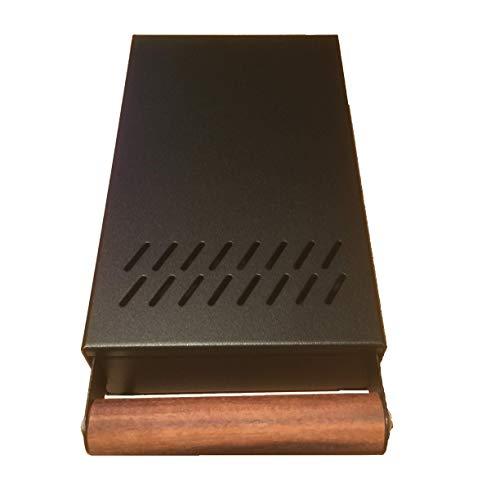 AlTaGru Sudschublade Profiline Mini grösse 14 x 24 x 5,5 cm Edelstahl schwarz glänzend ! für Mühlen wie zb. ECM/Ascaso/Rancilio/Rocket Abschlagschublade Knockbox Sudschublade Mini