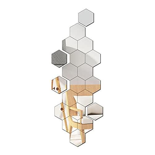 CYendy Espejo Hexagonal 24 Piezas de Adhesivos de Pared Adhesivos de Pared de Espejo decoración de Sala de Estar Dormitorio decoración de Fondo de TV (Plateado, 126 x 110 x 63 cm)