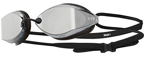 TYR Tracer X Racing Goggle Mirrored Gafas de Carreras con Espejo, Unisex Adulto, Plateado/Negro/Negro, Talla única