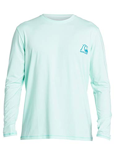 Quiksilver Men's Heritage LS Long Sleeve Rashguard SURF Shirt, Beach Glass, S