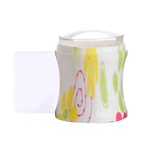 LafyHo 3.7cm Transparent Jelly Nail Art Stamper avec grattoir Silicone tête Emboutissage Fleur poignée 5 Couleurs