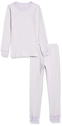 Moon and Back by Hanna Andersson Girls' 2 Piece Long Sleeve Pajama Set, Purple Stripe, 6-12 Months