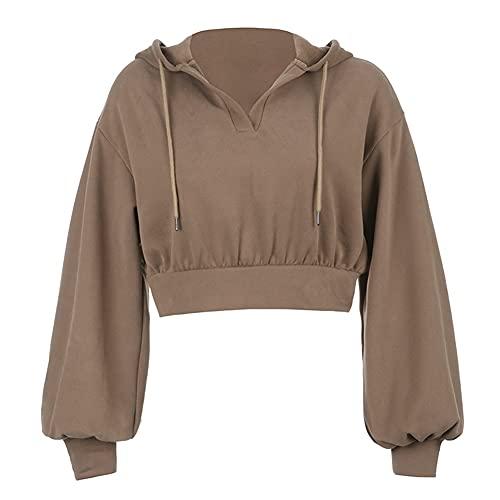 Sudaderas Con Capucha Para Mujer Casual Manga Larga Cordón Streetwear  Trajes 2233 (Color : Brown, Size : Small)