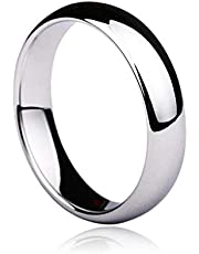 Unisex Solid White Gold 4mm Comfort Polished Wedding Ring