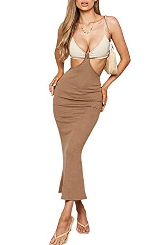 FASBB Vestido sexy sin mangas con cuello halter para mujer, vestido sin espalda, con corte cruzado, vestido de fiesta de club Y2K