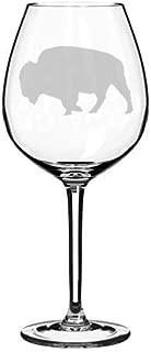 Wine Glass Goblet Laser Etched Buffalo - 11 Oz
