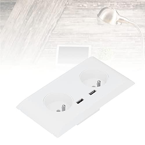 VINGVO Enchufe de Cargador de Pared, Interruptor de Salida EU 250V ABS + latón para decoración para la Escuela de la Oficina en casa