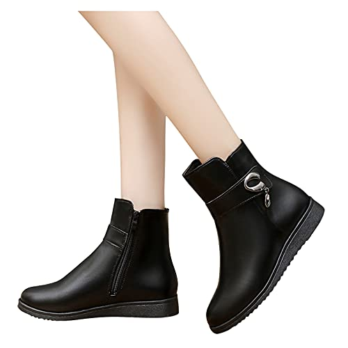 Dasongff Bottines Femme Talon Plat Bottines de Cheville Côté Zipper Boots Chelsea Décontractée Antidérapant Bottes de Cowboy pour Femme Bottes Noires Casual Bottes Courtes pour Automne Hiver