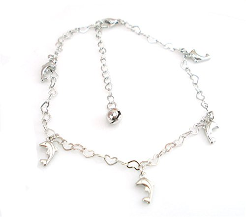 Boowhol Damen 925 Sterling Silber Fußkette Fußkettchen Armband Armreif Fußkettchen mit Anhänger Heart-Shaped Kette Delphin