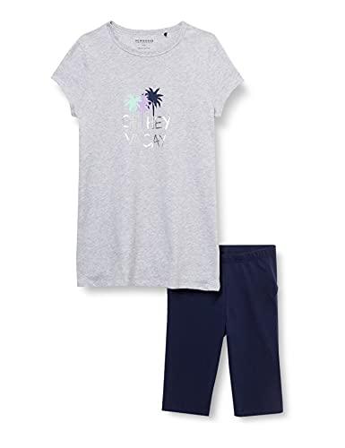 Schiesser Mädchen Schlafanzug kurz Pyjamaset, grau-Mel, 164