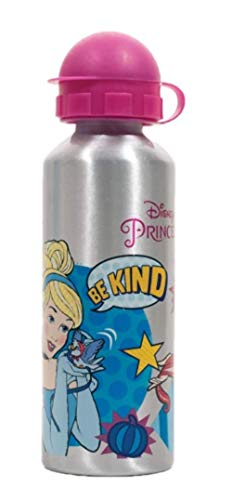 GIM Una Botella de Agua de Aluminio, cantimplora térmica a Prueba de Fugas sin BPA para Levar a la Escuela y Deportes el Termo 520ml para niños y niñas. Color Plata-Rosa