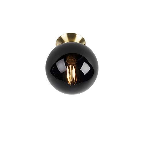 QAZQA Art Déco Plafón Art Dèco latón con cristal negro - PALLON/Acero Esfera Adecuado para LED Max. 1 x 25 Watt
