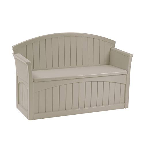 Suncast 50 Gallon Patio Bench with Storage - Decorative Resin Outdoor Patio Bench for Deck, Patio, Garden, Backyard - Ideal for Storing Toys, Cushions, Tools - Taupe (PB6700)