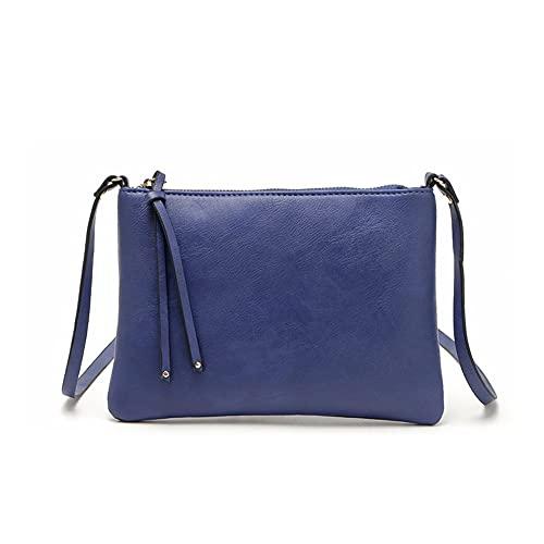 ZCPCS Mensajero de Cuero de la Vendimia Bolsa de la Bolsa de la Bolsa de Cruz para Las señoras Mini Bolso de Hombro Bolso Bolso Bolsa de Mano (Color : Blue, Size : 9.25 * 6 Inch)
