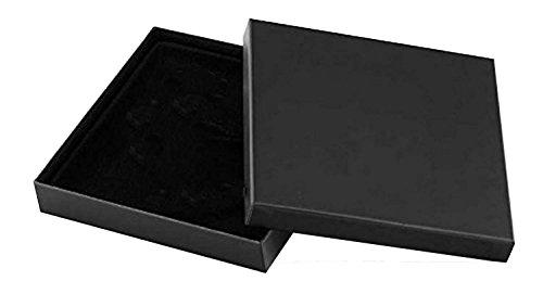 Collieretui MOSKAU, 1 Stück Collier Halsketten Perlenketten aufbewahrung edele Box in Schwarz mit Samteinlage