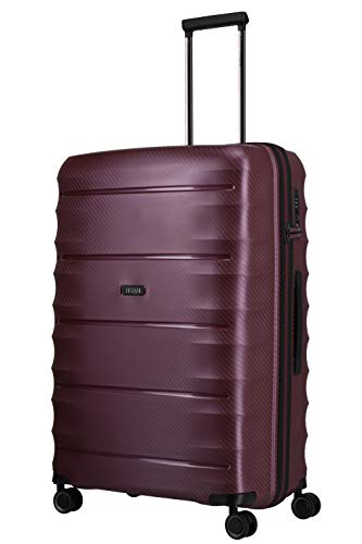 TITAN 4-Rad Koffer L groß mit TSA Schloss, Gepäck Serie HIGHLIGHT: Leichte Hartschalen Trolleys im Carbon Look, 842404-70, 75 cm, 107 Liter, merlot (weinrot)