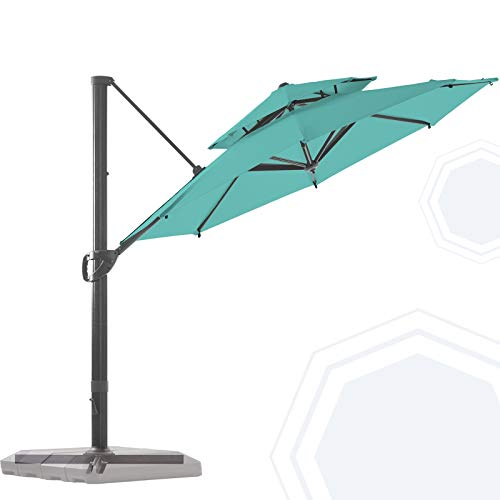 BLUU Redwood 11 FT 2 Tier Patio Umbrella Offset Cantilever Outdoor Umbrella Aluminum Market Hanging Umbrellas with 360° Rotation Device and Unlimited Tilting System & Cross Base (Aruba Blue)