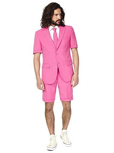 OppoSuits Herren Men Suit Business-Anzug Hosen-Set Inklusive Shorts, Kurzarmjacke & Krawatte, Mr.Pink, 50 EU