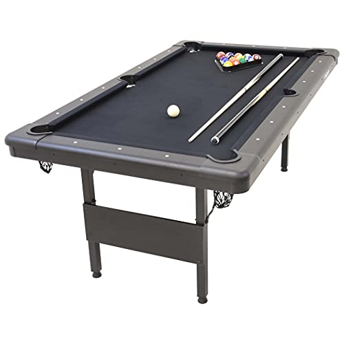 GoSports Mid-Size 6ft x 3.5ft Billiards Game Table - Foldable Design, Includes Full Set of Pool Balls, 2 Cue Sticks, Chalk, and Felt Brush