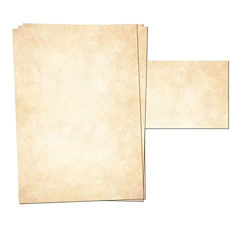 Presentou 25er Set Briefpapier beidseitig Bedruckt 120 Gramm Papier | Motivpapier Urkundenpapier Urkunde Speisekarte Liebesbrief (Vintage Hell, 25 + 25 Bögen + Umschläge)